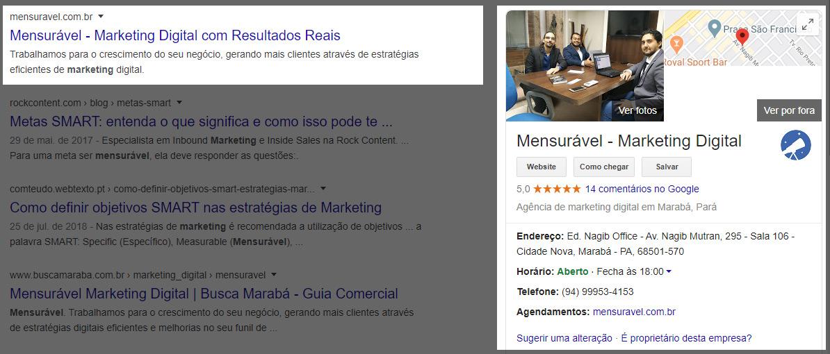 Resultado no Google Meu Negócio
