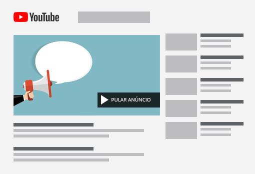 Anúncio pulável em 5 segundos do Youtube
